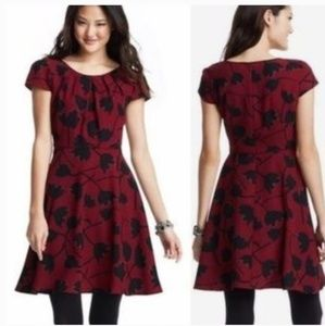 Loft burgundy tulip print fit and flare dress